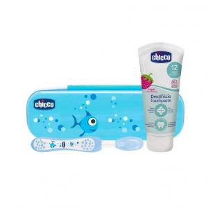Chicco Conjunto Escova de Dentes Azul Pasta Dentífrica Morango 12M